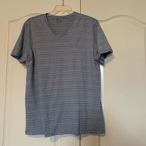 2X Public Opinion blue and white stripe T-shirt